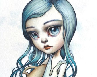 Aquarius - Zodiac Girl signed 8x10 pop surrealism lowbrow Fine Art Print by Mab Graves -unframed