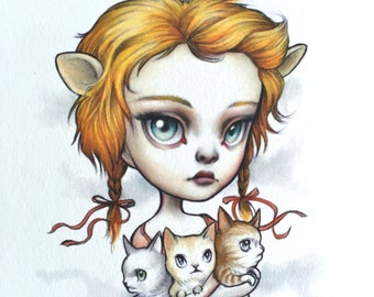 Leo - Zodiac Girl signed 8x10 pop surrealism lowbrow Fine Art Print by Mab Graves -unframed