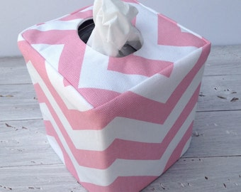 Pink chevron reversible tissue box cover