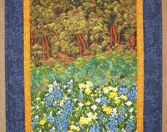 Art Quilt Blue and Yellow Flower Meadow Forest Fabric Wallhanging Quilted Wall Art Tree Quilt Landscape Art Quilt Impressionistic Art