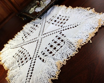 Large Crochet Doily, Square Centerpiece, Crocheted in White,  Gold Edging, Vintage Handmade 12758