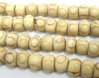 20 Beads - Ivory color Tibetan prayer mala old bone beads from Nepal  8 mm  - HB060