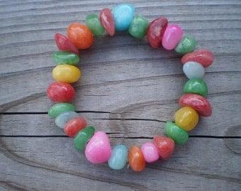 Multicolor Jade Nugget Stretch Bracelet