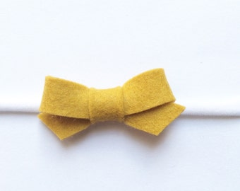 Baby felt bow-mustard yellow