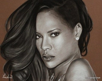 Rihanna Portrait - Charcoal and Pastel Drawing 14x18 - Original Artwork - Music - Hip Hop - Wall Decor