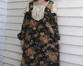 Young Edwardian Black Floral Prairie Dress Maxi Lace 70s Vintage Gunne Style Long XS