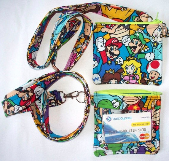 Nintendo Mario & Luigi ID Holder with Lanyard,Amusement Park Pass Holder,Quilted Coin Purse,Small Phone Pouch,Work Badge,Kong Daisy Yoshi
