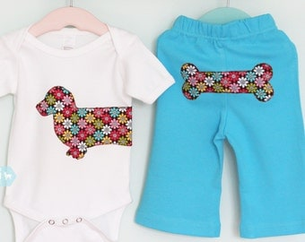 Dachshund baby one-piece bodysuit and turquoise pant set in bright floral print - Size 3-6 months