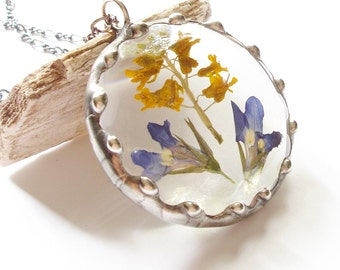 Real Flower Necklace, Dried Flower Pendant, Nature Jewelry, Sterling Silver Chain