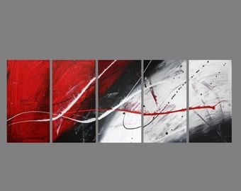 5 canvas ABSTRACT CANVAS PAINTINGblack white red