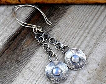Moonstone & Silver Chain Drop  Earrings
