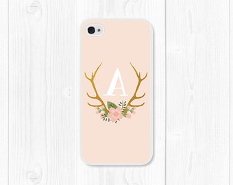 iPhone 5s Case iPhone 6s Case iPhone 6 Case Samsung Phone Case S7 Monogram Floral iPhone 5 Case Personalized Phone Case Gift for Her Deer