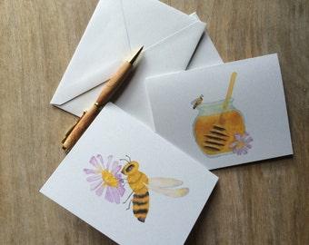 Honey Bee Notecards - set of 8 notecards blank