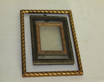 Three Vintage Wooden Frames Gold Silver Natural 3 sizes Very Old with beautiful designs like Art Nouveau Art Deco