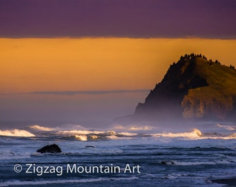 Sunrise on a rocky headland of the Pacific Coast.  Seascape wall art or wall art from photo.  Fine art print for home decor or wall art.