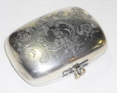 Vintage Embossed Silver B Evening Purse, Wedding