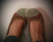 Crochet Slippers Womens Flats Two Tone Light Green Brown