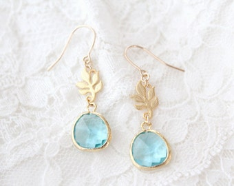 Something New and Blue Earrings - Gold - Aquamarine - SALE