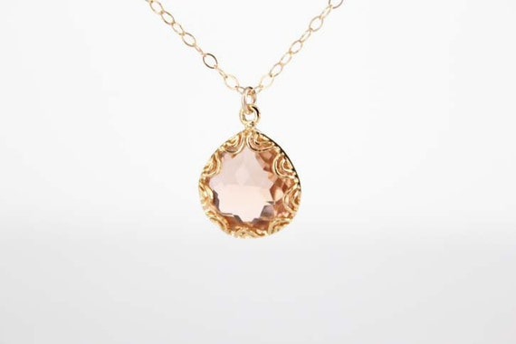 Gold Framed Glass Pendant Necklace - Champagne - Grace