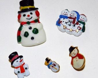 Snowman buttons (5)