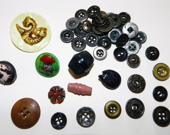 Vintage bakelite, celluloid and glass buttons (8) plus a bunch of metal work buttons thrown in for free
