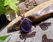 Amethyst Rustic Boho Wire Wrapped Stone Pendant