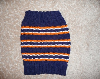 Team Colors Cowl,  NFL Football Neck Warmer- Navy and Orange Scarf- Gift Idea