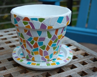Mosaic Planter Flower Pot and Saucer
