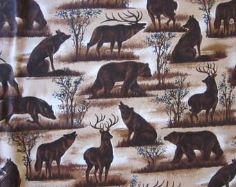 fabric - VIP woodland animals allover print - bear, deer, wolf - by the yard, BTY - VIP Cranston print - htf