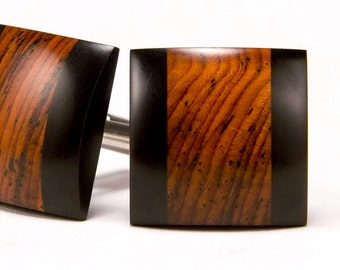 Cuff Links Wood - Groomsmen Gifts - Cocobolo Ebony Cufflinks - Fathers Day Gifts - Anniversary Gifts - Best Man Gifts