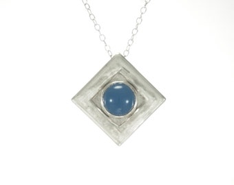 1 solid 925 sterling silver necklace real natural Blue agate gemstone original fashion For woman handmade pendant jewelry Item 143