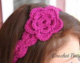 CROCHET PATTERN - Crochet Flower Headband Pattern, Flower Pattern, Girl's Headband Tutorial, Hair Accessories