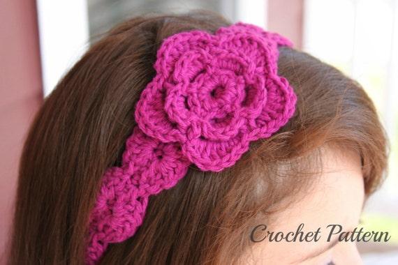 Crochet Hair Accessories Tutorial : CROCHET PATTERN Crochet Flower Headband Pattern by OnTheHook