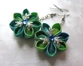 Tropical Drops Kanzashi Flower Earrings