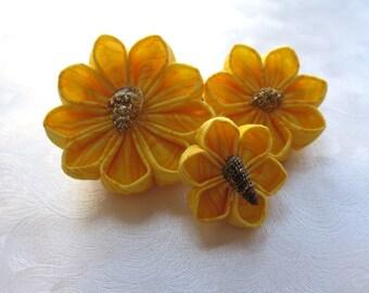 Sunshine Shells Kanzashi Flower Hair Pins