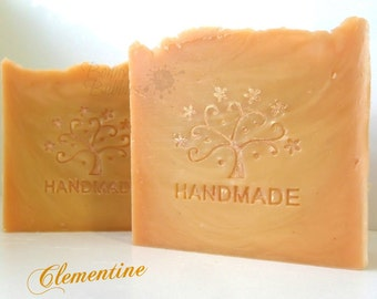 CLEMENTINE Soap - citrus floral notes - made with coconut milk, mango butter and silk - handmade by Bonny Bubbles