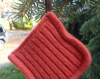 Upcycled Wool Pocket Sachet, ornament, cinnamon and cloves