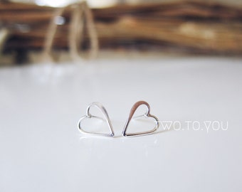 Little Heart Earring Studs - 24kt Gold Plated Sterling Silver or Sterling Silver - Insurance included in ALL domestic shipping!