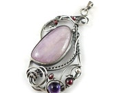 Wire wrapped pendant, gemstone jewelry, sterling silver metalwork jewelry