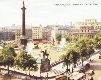 Trafalgar Square Postcard, Vintage Unused London Postcard with Tinted Color Illustration