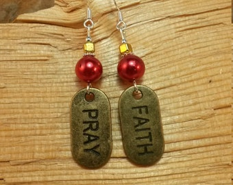 Red Gold Pray and Faith Sterling Silver Earrings, Pray and Faith Red Gold Dangle Sterling Silver Earrings, Gold Pray and Faith Earrings