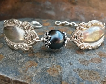 Antique Silverware and Dark Gray Faux Pearl Bracelet, Silverware Pearl Bracelet, Faux Pearl Bracelet