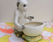 Ceramic Majolica Monkey Planter / White Monkey with Basket / Animal Monkey Figurine / Mottahedeh (?)