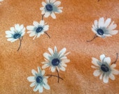 Vintage Daisy Knit Fabric Daisies Flowers Floral Retro