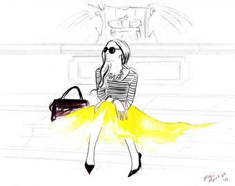 Watercolour Fashion Illustration Titled An Italian Voyage