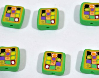 Polymer Clay Beads - Set of 6 in Retro Green
