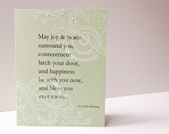 Irish Blessing Wedding Card - Handmade Card -  white, green, swirls, sparkle