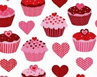 Baked with Love Heart Cupcakes by Robert Kaufman Fabric 1 Yard Fabric