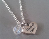 Maid of Honor Heart Charm Necklace