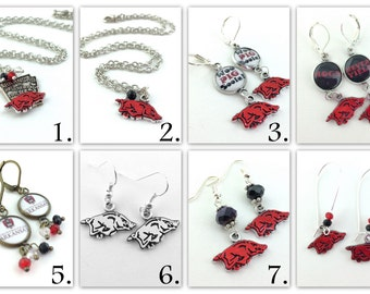 University of Arkansas Razorback Jewelry - U of A Gifts - Woo Pig Sooie - Mens Womens Razorback Accessories - Hogs NCAA State Jewelry